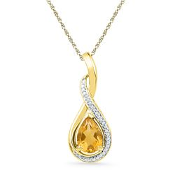 1.06 CTW Pear Created Citrine Solitaire Diamond Pendant 10KT Yellow Gold - REF-18M2H