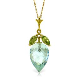 Genuine 11.75 ctw Blue Topaz & Peridot Necklace Jewelry 14KT Yellow Gold - REF-37F2Z