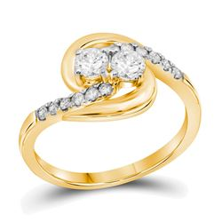 0.58 CTW Diamond 2-stone Hearts Together Bridal Ring 10KT Yellow Gold - REF-55Y5X