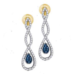 0.26 CTW Blue Color Diamond Dangle Earrings 10KT Yellow Gold - REF-26W9K