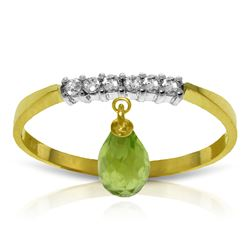 Genuine 1.45 ctw Peridot & Diamond Ring Jewelry 14KT Yellow Gold - REF-34M3T