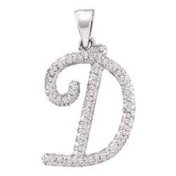 0.17 CTW Diamond Cursive Letter D Pendant 10KT White Gold - REF-11M2H