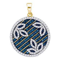 0.75 CTW Blue Color Diamond Circle Floral Pendant 10KT Yellow Gold - REF-37H5M