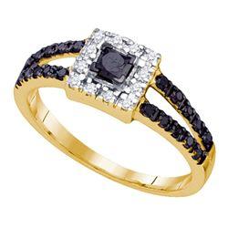 0.55 CTW Princess Black Color Diamond Princess Bridal Ring 10KT Yellow Gold - REF-19M4H