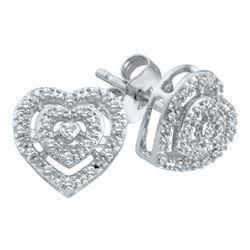 0.08 CTW Diamond Heart Screwback Earrings 10KT White Gold - REF-14M9H