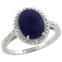 Natural 2.52 ctw Lapis & Diamond Engagement Ring 10K White Gold - REF-23V2F