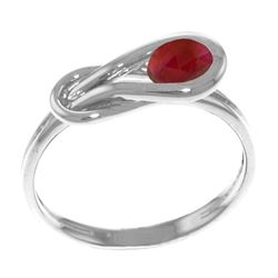 Genuine 0.65 ctw Ruby Ring Jewelry 14KT White Gold - REF-49R6P