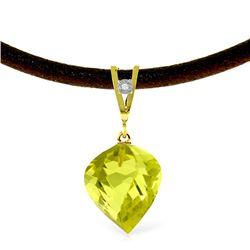 Genuine 10.76 ctw Lemon Quartz & Diamond Necklace Jewelry 14KT Yellow Gold - REF-42M7T