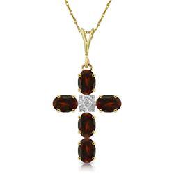 Genuine 1.88 ctw Garnet & Diamond Necklace Jewelry 14KT Yellow Gold - REF-39H8X