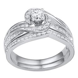 0.50 CTW Diamond Swirl Bridal Engagement Ring 10KT White Gold - REF-64H4M