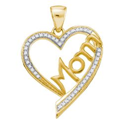 0.13 CTW Diamond Heart Love Mom Mother Pendant 10KT Yellow Gold - REF-19X4Y