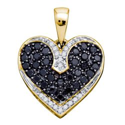 0.51 CTW Black Color Diamond Dainty Heart Pendant 10KT Yellow Gold - REF-22Y4X