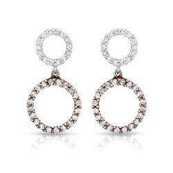 0.42 CTW Diamond Earrings 14K 2Tone Rose Gold - REF-30R4K