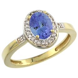 Natural 0.85 ctw Tanzanite & Diamond Engagement Ring 10K Yellow Gold - REF-28K4R
