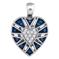 0.25 CTW Blue Color Diamond Milgrain Heart Cluster Pendant 10KT White Gold - REF-19W4K