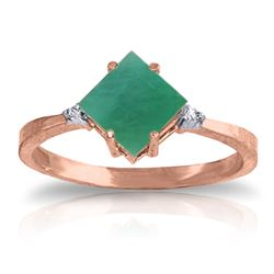 Genuine 1.46 ctw Emerald & Diamond Ring Jewelry 14KT Rose Gold - REF-39W9Y