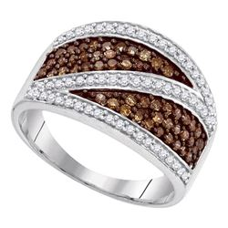 0.75 CTW Cognac-brown Color Diamond Crossover Ring 10KT White Gold - REF-37X5Y