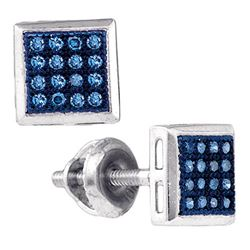 0.10 CTW Blue Color Diamond Screwback Stud Earrings 10KT White Gold - REF-11Y2X