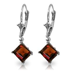 Genuine 3.2 ctw Garnet Earrings Jewelry 14KT White Gold - REF-30X2M