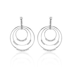 0.77 CTW Diamond Earrings 14K White Gold - REF-92M2F