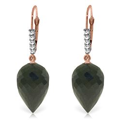 Genuine 24.65 ctw Black Spinel & Diamond Earrings Jewelry 14KT Rose Gold - REF-46F7Z