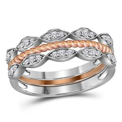 0.20 CTW Diamond Stackable Rope Ring 10KT Two-tone Gold - REF-34W4K