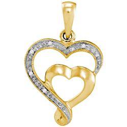 0.01 CTW Diamond Double Heart Love Pendant 10KT Yellow Gold - REF-7K4W