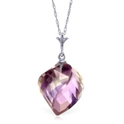 Genuine 10.75 ctw Amethyst Necklace Jewelry 14KT White Gold - REF-25K4V