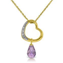 Genuine 2.28 ctw Amethyst & Diamond Necklace Jewelry 14KT Yellow Gold - REF-40F7Z