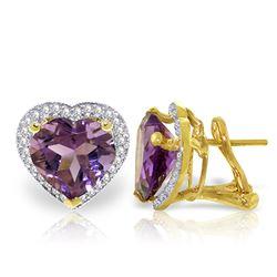 Genuine 6.48 ctw Amethyst & Diamond Earrings Jewelry 14KT Yellow Gold - REF-101F4Z