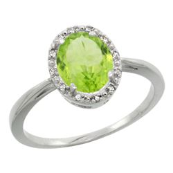 Natural 1.41 ctw Peridot & Diamond Engagement Ring 10K White Gold - REF-20F9N