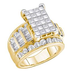 5 CTW Princess Diamond Cluster Bridal Engagement Ring 14KT Yellow Gold - REF-509M9H
