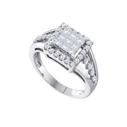 1 CTW Princess Diamond Square Cluster Ring 14KT White Gold - REF-87N2F
