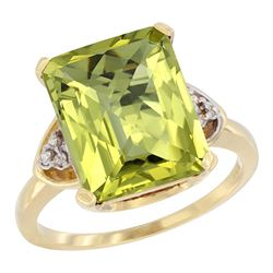 Natural 5.44 ctw lemon-quartz & Diamond Engagement Ring 14K Yellow Gold - REF-43R9Z