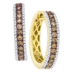 1.01 CTW Cognac-brown Color Diamond Hoop Earrings 14KT Yellow Gold - REF-75H2M