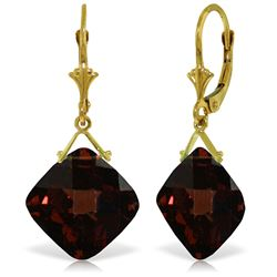 Genuine 17.5 ctw Garnet Earrings Jewelry 14KT Yellow Gold - REF-50N2R