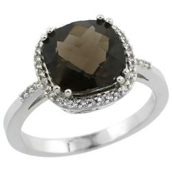Natural 4.11 ctw Smoky-topaz & Diamond Engagement Ring 14K White Gold - REF-44K2R