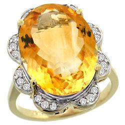 Natural 13.83 ctw citrine & Diamond Engagement Ring 14K Yellow Gold - REF-124R4Z