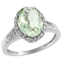 Natural 2.49 ctw Green-amethyst & Diamond Engagement Ring 14K White Gold - REF-42G2M