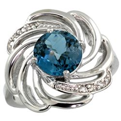 Natural 2.25 ctw london-blue-topaz & Diamond Engagement Ring 14K White Gold - REF-58N4G