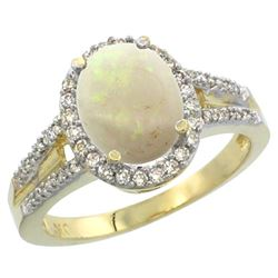 Natural 1.73 ctw opal & Diamond Engagement Ring 10K Yellow Gold - REF-44Y4X