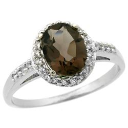 Natural 1.3 ctw Smoky-topaz & Diamond Engagement Ring 10K White Gold - REF-25F9N