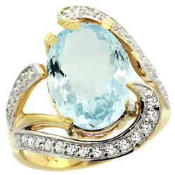 Natural 6.24 ctw aquamarine & Diamond Engagement Ring 14K Yellow Gold - REF-164R7Z