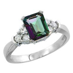 Natural 1.48 ctw mystic-topaz & Diamond Engagement Ring 10K White Gold - REF-43A3V