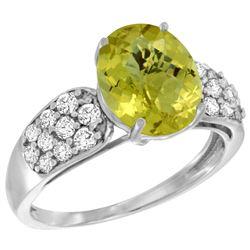 Natural 2.75 ctw lemon-quartz & Diamond Engagement Ring 14K White Gold - REF-57X7A