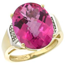 Natural 11.02 ctw Pink-topaz & Diamond Engagement Ring 14K Yellow Gold - REF-65F8N