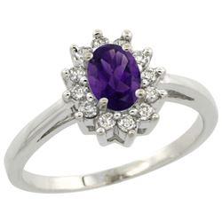 Natural 0.67 ctw Amethyst & Diamond Engagement Ring 14K White Gold - REF-48H6W