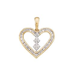 0.15 CTW Diamond Heart Pendant 10KT Yellow Gold - REF-14K9W