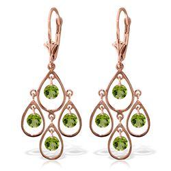 Genuine 2.4 ctw Peridot Earrings Jewelry 14KT Rose Gold - REF-54W9Y