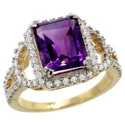 Natural 3.08 ctw amethyst & Diamond Engagement Ring 14K Yellow Gold - REF-106V3F